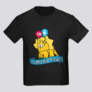 4th Birthday Dinosaur Kids Dark T-Shirt
