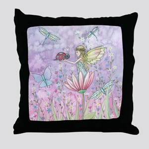 A Friendly Encounter Fairy and Ladybu Throw Pillow