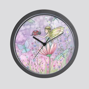 A Friendly Encounter Fairy and Ladybug Wall Clock