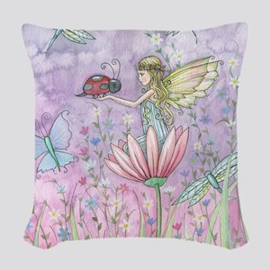A Friendly Encounter Fairy and Woven Throw Pillow