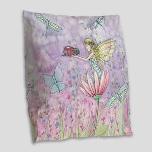 A Friendly Encounter Fairy and Burlap Throw Pillow