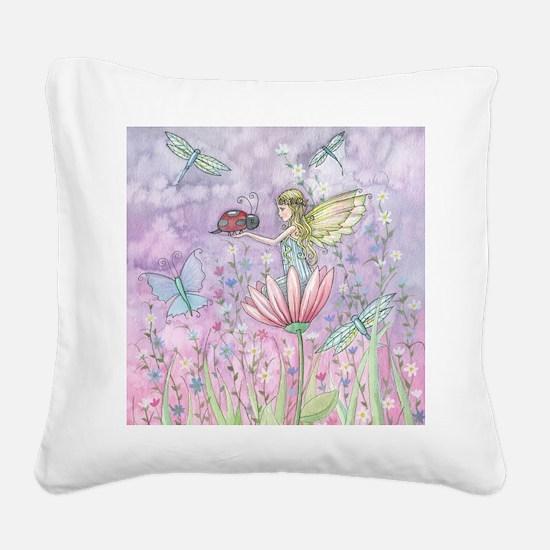 A Friendly Encounter Fairy an Square Canvas Pillow