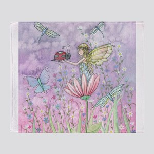 A Friendly Encounter Fairy and Ladyb Throw Blanket