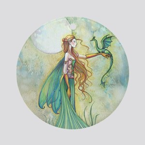 Discipline Fairy and Dragon Fantasy Art Ornament (