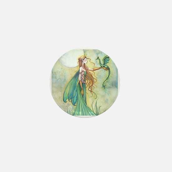 Discipline Fairy and Dragon Fantasy Art Mini Butto