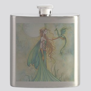 Discipline Fairy and Dragon Fantasy Art Flask