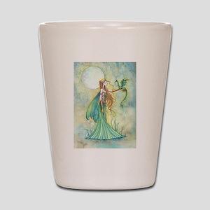 Discipline Fairy and Dragon Fantasy Art Shot Glass