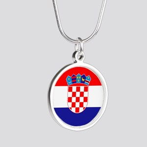 Croatia Flag Silver Round Necklace
