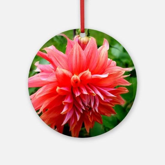 Deep Pink Dahlia Ornament (Round)