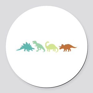 Prehistoric Medley Border Round Car Magnet