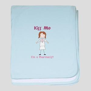 Kiss Me I'm a Pharmacist baby blanket
