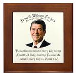 Reagan Republicans vs. Democrats Framed Tile