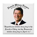 Reagan Republicans vs. Democrats Tile Coaster
