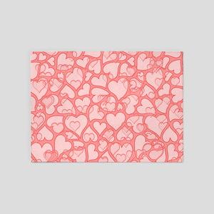 hearts,allover,peach 5'x7'Area Rug