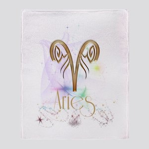Aries Zodiac Sign Throw Blanket