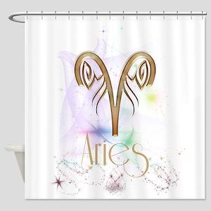 Aries Zodiac Sign Shower Curtain