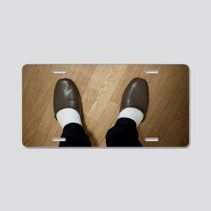 Man wearing indoor slippers Aluminum License Plate