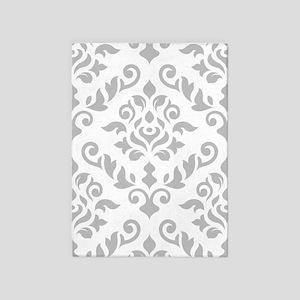 Baroque Damask Grey On White Design 5'x7'area Rug