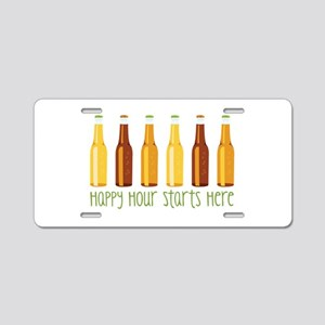 Happy Hour Starts Here Aluminum License Plate