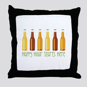 Happy Hour Starts Here Throw Pillow