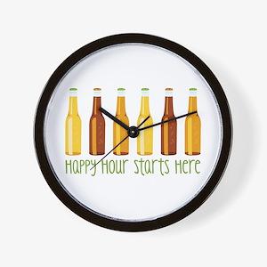 Happy Hour Starts Here Wall Clock