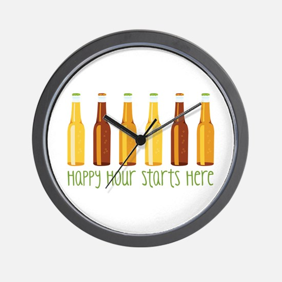 Happy Hour Starts Here Wall Clock