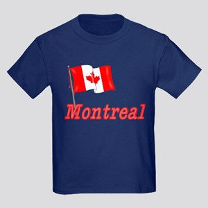 Canada Flag - Montreal Text Kids Dark T-Shirt