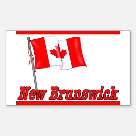 Canada Flag - New Brunswick Text Sticker (Rectangu