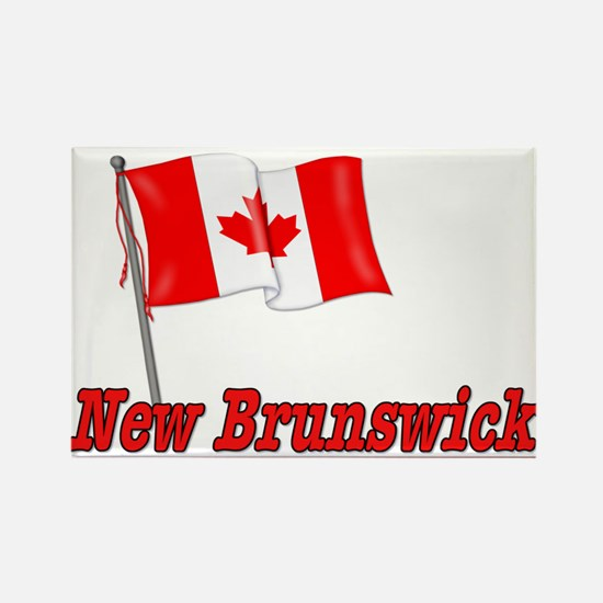 Canada Flag - New Brunswick Text Rectangle Magnet