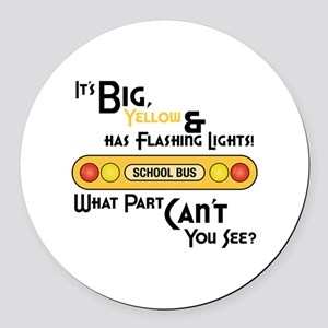 Big And Yellow Round Car Magnet