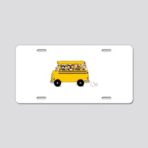 School Bus with Kids Aluminum License Plate