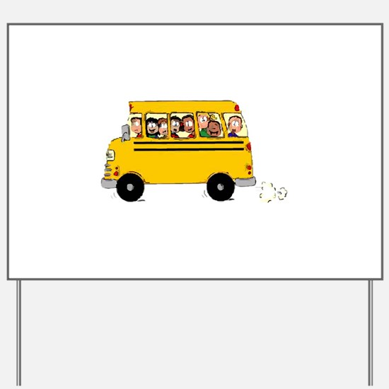 School Bus with Kids Yard Sign
