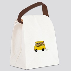 School Bus with Kids Canvas Lunch Bag
