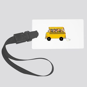 School Bus with Kids Luggage Tag