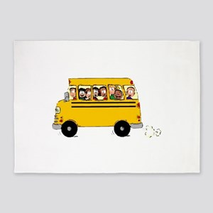 School Bus with Kids 5'x7'Area Rug
