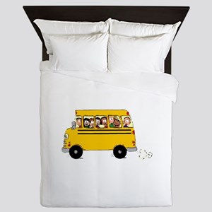 School Bus with Kids Queen Duvet