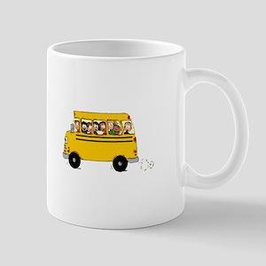 School Bus with Kids Mugs