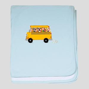 School Bus with Kids baby blanket