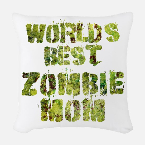 Worlds Best Zombie Mom Woven Throw Pillow