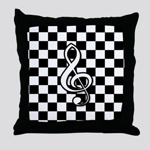 Treble Clef on check Throw Pillow