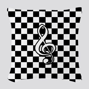 Treble Clef on check Woven Throw Pillow