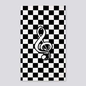 Treble Clef on check 3'x5' Area Rug