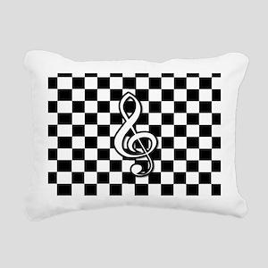 Treble Clef on check Rectangular Canvas Pillow