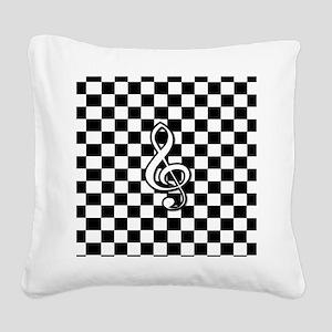 Treble Clef on check Square Canvas Pillow