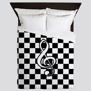 Treble Clef on check Queen Duvet