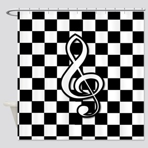 Treble Clef on check Shower Curtain