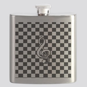 Treble Clef on check Flask