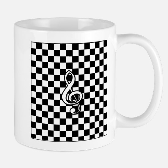 Treble Clef on check Mugs