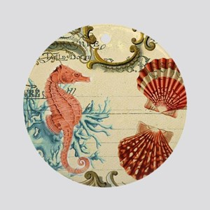 modern beach seashells seahorse coral paris art Or
