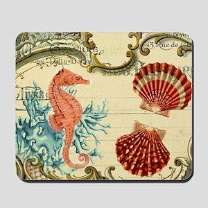 modern beach seashells seahorse coral paris art Mo
